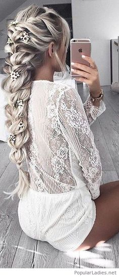 white-shorts-and-lace-top-with-a-wonderful-braid