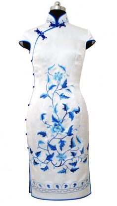 White silk with embroidery cheongsam dress SQE153 - Custom-made Cheongsam,Chinese clothes, Qipao, Chinese Dresses, chinese clothing,EFU Tailor Shop