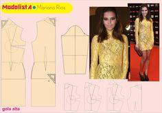 Vestido de renda amarelo.  Atriz Mariana Rios