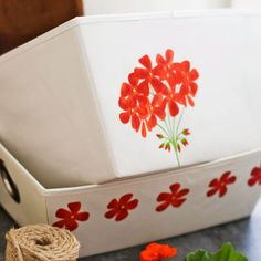 Canvas box with stenciled geraniums