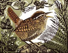 Wren - by Pam Grimmond. Linocut, 170mm x 130mm, oil-based relief ink on somerset satin, white, 250gms paper. http://www.pamgrimmond.co.uk/