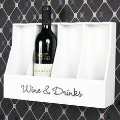 """Dekoratives Wand-Flaschenregal mit Fächer für 4 Flaschen und der Aufschrift """"Wine Wine Drinks, Bottle, Glass Drawer Pulls, Drink Wine, Decorative Walls, Table, Bakken, Flask, Jars"""