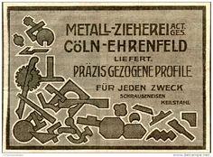 Original-Werbung/ Anzeige 1912 - METALL - ZIEHEREI CÖLN - EHRENFELD - ca. 100 x 70