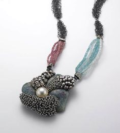 So Young Park, Observing Ocean, pendant of oxidized silver, pearls and precious beads