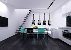 Four Guitars Musical Instrument Housewares Wall by SuperVinylDecal, $24.99