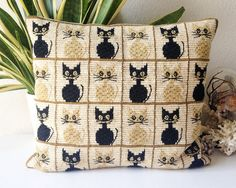 Vintage needlepoint cat pillow retro mid century by SadRosetta