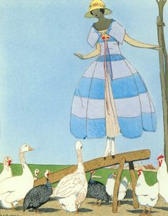 1920s advertisement by artist A.E. Marty has a flapper on a farm in a straw hat and a striped blue dress by Paul Poiret.