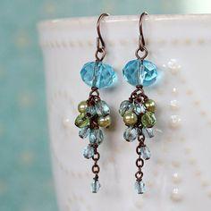 Blue Czech Glass Cluster Earrings, Dangle Earrings, Handmade Earrings