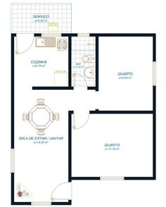 Planta de casas pequenas de dois andares modelo 2 Bedroom Floor Plans, Bungalow Floor Plans, Modern Bungalow House, Narrow House Plans, Small House Plans, Unique Wall Shelves, House Construction Plan, One Bedroom Apartment, Home Design Plans