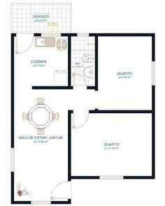 1 área de serviço, 1 cozinha, 2 quartos, 1 banheiro e 1 sala de estar e jantar