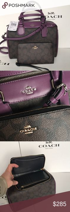 ❤️coach Bennett set❤️brown/berry Both authentic brand new with tags. Brown berry colors. Purse strap removable . Bag silver hard wear. Wallet gold hard wear Coach Bags Crossbody Bags