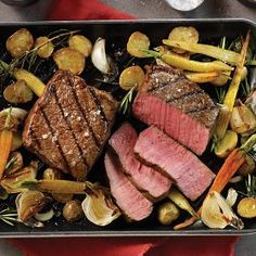 Grilled Top Sirloins with Roasted Root Vegetables Recipe