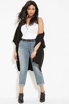 Plus Size Distressed Boyfriend Jeans | Forever 21 PLUS - 2000141998