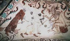three witches riding broomsticks receiving something (?salve) spooned out of a horn by a seated devil. Detail of wall-painting in the church at Yttergran, Uppland, Sweden, painted in the 1480s by Albertus Pictor.
