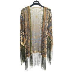 30 Off Short Kimono Women Boho Kimono Gypsy Fringe Kimono Cardigan... ($55) ❤ liked on Polyvore featuring grey, outerwear and women's clothing