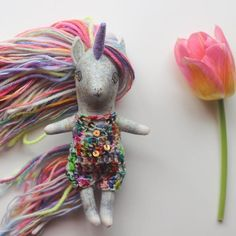 rainbow unicorn handmade doll by liberty lavender dolls