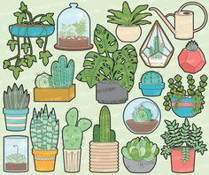 Premium Vector Clipart - House Plants Clipart - Kawaii Plants Clip Art Set - High Quality Vectors - Pretty Clipart - Pot Plants Clipart Set