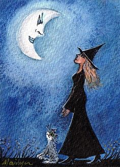 The Moon is a friend for the lonely to talk to.. by Marilyn's Miniatures