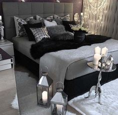 Luxurious Black & Grey Bedroom