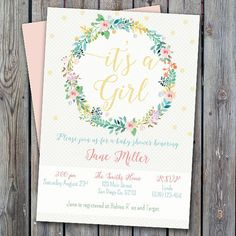 Printable floral baby girl shower invitation girl by ILoveTjCrafts