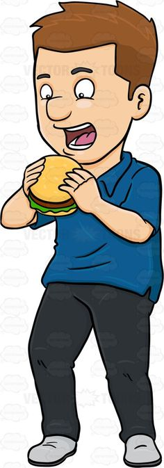 A Man Looking Excited To Taste A Hamburger #black #bread #bun #burger #burgerpatty #civilian #consumption #darkhair #darkhaired #eating #feeding #food #hamburger #human #humanbeing #individual #ingestion #intake #leggings #lettuce #male #maleperson #man #mortal #nutrient #pants #patty #person #sandwich #sesameseeds #shirt #shoes #single #somebody #someone #uptake #vector #clipart #stock