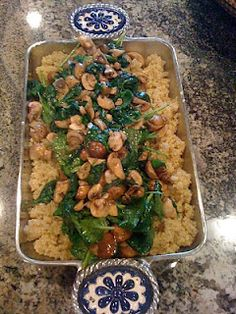 quinoa, sauteed spinach and mushrooms