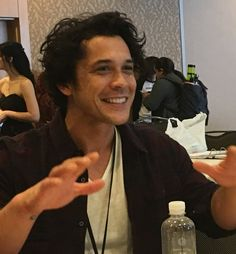 Bob Morley having some fun during the interview