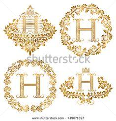 #Golden #letter #H #vintage #monograms set. #Heraldic #monogram in coats of arms…