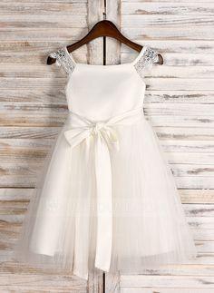 526eddc7b Vestidos princesa/ Formato A Comprimento médio Vestidos de Menina das Flores  - Cetim/Tule
