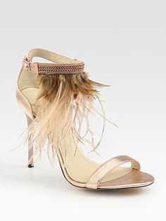B Brian Atwood  Metallic Leather and Feather-Embellished Sandals