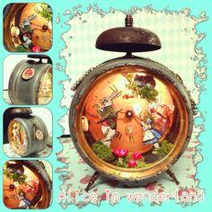 "Altered clock ""Alice in wonderland"" Laura Calpe #diorama #Aliceinwonderland #"