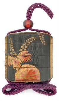 An Early Three-Case Inro   Edo Period (17th century)   The black lacquered cloth-covered ground decorated in gold, red and black hiramaki-e and takamaki-e with paulownia and chrysanthemum flower heads, the interior black lacquer, fundame rims