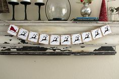 Christmas Banner  Reindeer and Sleigh  red and by GreenJazzFace, $22.00