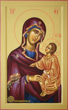 Portable Icons - Virgin Mary Byzantine Icons, Byzantine Art, Art Populaire, Blessed Virgin Mary, Orthodox Icons, Mother And Child, Religious Art, Madonna, Jesus Christ