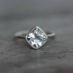 Cushion Cut White Topaz and Recycled Sterling by onegarnetgirl, $218.00 engagement favorite.