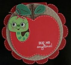 Create a Critter: Apple, worm  Wild Card: Scalloped card base  Cricut Classic Font: Circle by lorie