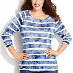 inc international.concepts plus size striped top inc international.concepts plus size long sleeve striped top INC International Concepts Tops Blouses