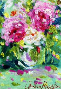 This original oil painting of ROSE IMPRESSIONS is a lovely pink and green flower study. An impressionistic still life done in oil on canvas. Art