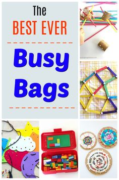 The absolute best Busy Bags for kids! Over 40 independent activities perfect for toddlers, preschoolers, and big kids too! Quiet Time Activities, Indoor Activities For Kids, Kids Learning Activities, Creative Activities, Family Activities, Sensory Activities, Summer Activities, Toddler Activity Bags, Toddler Busy Bags