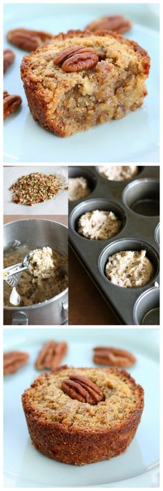 These Pecan Pie Muffins are a mix between a pie and a muffin. They have a muffin texture with a soft gooey inside like a pecan pie!! Yum!!