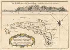 This is Isla Más a Tierra (known today as Robinson Crusoe), the largest of the three islands that constitute the Juan Fernández group. When explorers' narratives mention stops at Juan Fernández, they usually are referring to this island. Treasure Island Map, Juan Fernandez, Swiss Family Robinson, Robinson Crusoe, Historical Maps, Beautiful Islands, Storytelling, Vintage World Maps
