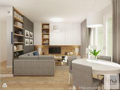Projekt salonu z aneksem kuchennym 22 m2 i łazienki 5,2 m2. - Średni salon z bibiloteczką z jadalnią z tarasem / balkonem, styl nowoczesny - zdjęcie od 4ma projekt