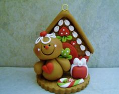 Gingerbread Man Gingerbread House Polymer by countrycupboardclay Polymer Clay Ornaments, Polymer Clay Projects, Clay Crafts, Noel Christmas, Primitive Christmas, Holiday Ornaments, Holiday Crafts, Halloween Clay, Biscuit