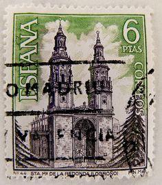 Concatedral de Santa Maria de la Redonda (Logrono) barroco XV century, stamp printed in Spain