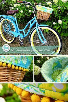 Lemon-Lime Pom-Pom Bike Basket Liner #food #recipe