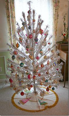 Vintage tinsel Christmas tree