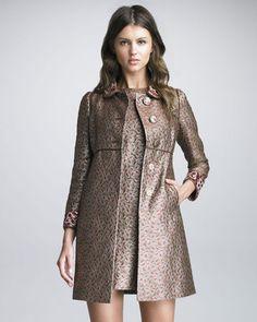 fashion & style - ShopStyle: RED Valentino Embellished-Collar Brocade Coat