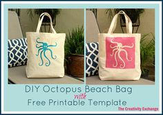 DIY Octopus Beach Bag with Free Printable Template