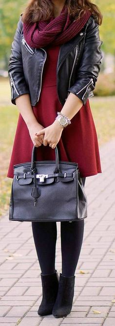 Burgundy + Black - In love with this outfit!
