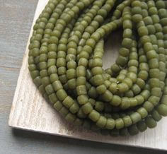 small Glass beads  asparagus  green glass Beads by yukidesigns, $5.25